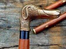Brass Dog Designer Antique Style Cane Wooden Walking Stick Vintage Canes handle