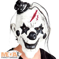 Latex Head Mask Psycho Clown With Hair Fancy Dress Adults Mens Costume Accessory