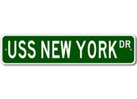 USS NEW YORK BB 34 Ship Navy Sailor Metal Street Sign - Aluminum