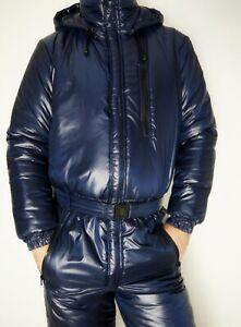 Glanznylon  Overall OLD Suit  dunkelblau leicht glänzend XS-5XL 15 mm FÜLLUNG
