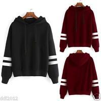 New Womens Long Sleeve Hoodie Sweatshirt Jumper Hooded Pullover Tops Blouse Coat