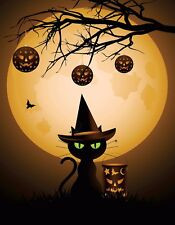 METAL MAGNET Image Of Halloween Black Cat Green Eyes Full Moon Cats MAGNET