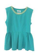 UNIQUE Women's Green Blue Yellow Sleeveless Peplum Casual Tank Top Blouse XS S