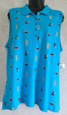 Kim Rogers Knit Sleeveless Top Blue Fruit Design Size PXL Buttons at Front NWT