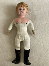 Antique Vintage Tin/Metal Doll With Cloth Body Glass Eyes Open Mouth