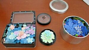 Lot of 3 Tins with SILK SCRAPBOOKING FLOWER EMBELLISHMENTS