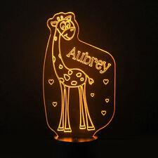 Giraffe Kids Room Personalised Childrens 7 Colour LED Night Light Birthday Gift