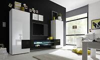 Soggiorno moderno bianco lucido e nero, parete attrezzata di design