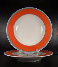 Villeroy & Boch Tipo Viva Set of 2 Rimmed Soup Bowls Orange Blue