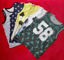 Set of 5 H&M Graphic print /tropical print Vest Tops - boys 10-12yrs