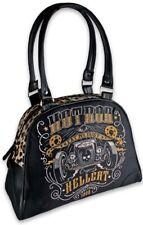 Hotrod Hellcat EAT MY DUST Car Skull LEO Fake Fur Bowler Bag Tasche Rockabilly