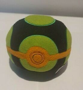 "Pokemon Poke Ball Dusk Ball 5"" Soft Toy Plush Tomy Official - Black and Green"