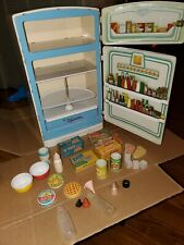 "17"" Vintage 1950s Wolverine Tin Litho Toy Refrigerator Food, Wood Bottles Steak"