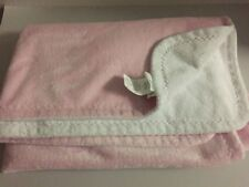 """Pottery Barn Kids Plush Double Thickness Pink & White Baby Blanket 30""""x40"""" VGUC"""