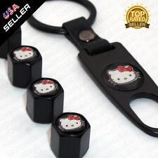Black Car Wheels Tire Valve Dust Stems Air Caps Keychain With Hello Kitty Emblem