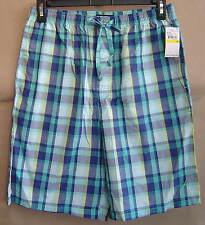 NWT $32 NAUTICA Mens M BRIGHT BLUE PLAID Woven Sleep Shorts Cotton Pajamas