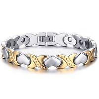 Women Stainless Steel Energy Magnetic Germanium Heart Silver Gold Chain Bracelet