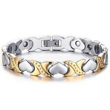 Women Stainless Steel Energy Magnetic Germanium Heart Silver Gold Chain Bracelet