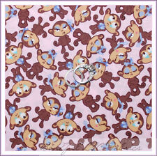 BonEful Fabric FQ Cotton Quilt VTG Pink Baby Girl Silly Monkey Purple Brown Zoo
