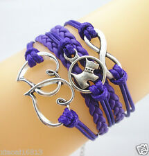 Lovely Infinity/Dog/Double Hearts Charms Leather Braided Bracelet Bright Purple