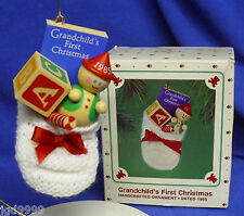 Hallmark Ornament Grandchild's First Christmas 1985 Knit Bootie Toys Used