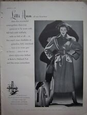 1948 Vintage LILLI ANN of San Francisco Cosmopolitan Three Way Women's Coat Ad