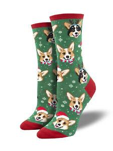 Corgi XMAS Dog Socks - Green SockSmith Womens