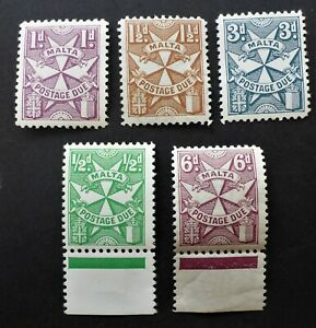MALTA  VERY FINE NH**& H* 5 DIFF POSTAGE DUE   CAN. SHIP $1.99 COMBINED SHIPPING