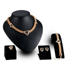 Gold Plated Crystal Necklace Bracelet Earrings Ring Wedding Party Choker Set 4pc