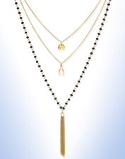 Inspired Life Gold Tone Black Stone Multi-layer Tassel Pendant Necklace E697