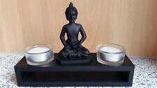 Buddha-Statue + 2 Teelichter in Glasschale