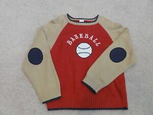NEW BOYS GYMBOREE BEIGE & RED BASEBALL SWEATER SIZE 7