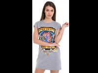 femme vintage style rock Long T-shirt Mini Robe décontracté soirée vacances haut