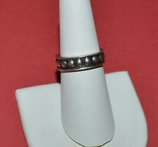 Badn Ring Size 7.25 Mexico Sterling Silver Beaded Pattern