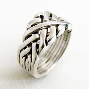 (SIXTH SENSE) Sterling Silver - Unique Puzzle Ring - 6 Bands - Any Size