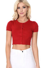YEMAK Women's Cropped Bolero Short Sleeve Button-Down Cardigan Sweater CB0536