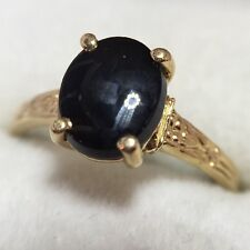 Vintage 10k Yellow Gold 3 Ct Black Onyx Pave Cocktail Estate Antique Ring 8 3/4