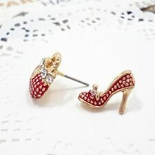 Charm Jewelry Asymmetric Rhinestone Heels Shoe Bag Shape Earring Ear Stud ZXX