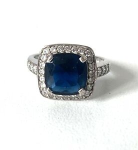 Cocktail Art Deco Style Solid Sterling Silver Navy Blue Clear Sparkling Ring - R