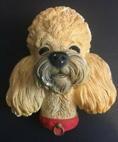 Vintage 1968 POODLE Bosson Head Hand Painted Chalkware Figure Made in England