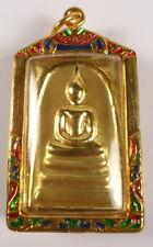PHRA SOMDEJ BUDDHA AMULET WAT RAKHANG TEMPLE THAILAND GOLD & ENAMEL CASE