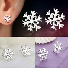 Elegant Hollowed Snowflake Earrings Silver Stud Earrings Women Charm Jewelry  O