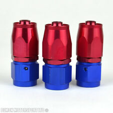 AN6 -6 6AN Straight Hose Fitting (3 Pack) JIC For Braided Hose Red / Blue New