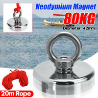42mm 80KG Neodymium Magnet Salvage Tool 304 Steel Recovery Fishing Kit+20M Rope