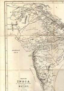 LARGE MAP OF INDIA ILLUSTRATING THE HISTORY OF THE MUTINY (1883 - Part-shown)