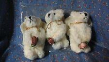 """Nib (Open) Boyds Bear Three Angel Bear Ornaments 4 1/2"""" high White w/ Flower"""