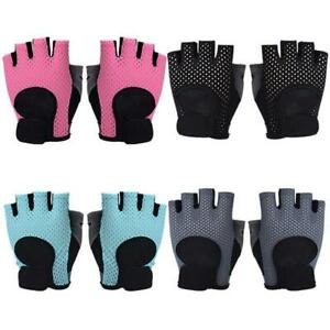 Women Fitness Half Finger Gloves Breathable Mesh Training Weightlifting Mittens