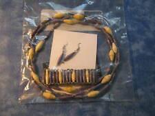 Handmade Ethiopian Paper Bead Necklace, Bracelet And Earrings Nip