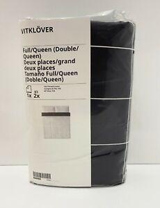 Ikea VITKLOVER Full/Queen Duvet Cover w/2 Pillowcases Bed Set White/Black Check