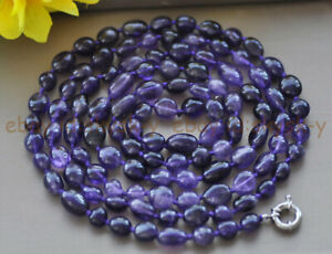 Natural Purple Amethyst 8-10mm Irregular Freeform Gemstone Beads Necklace 16-50""